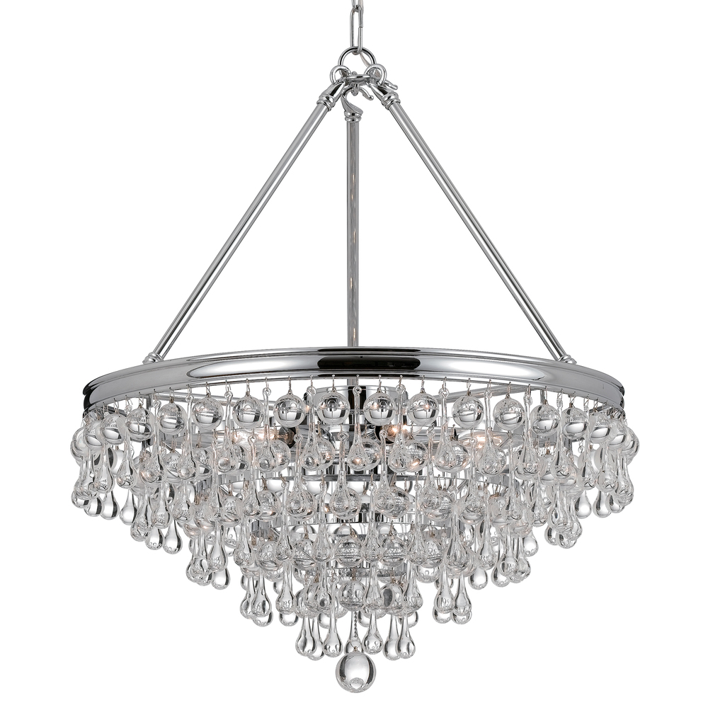 crystorama calypso 6 light crystal teardrop chrome chandelier 136